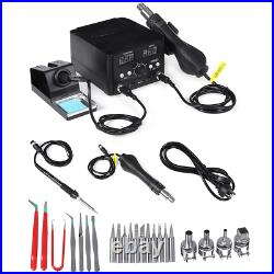 2-in-1 S858D Soldering Rework Station Iron Desoldering Hot Air Tool with 3 Nozzl