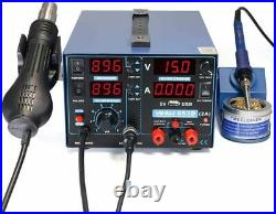 2A USB SMD Hot Air Rework Soldering Iron Station, DC Power Supply 0-15V 0-2A