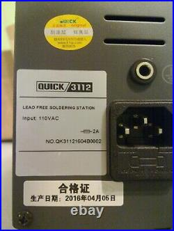 Quick 3112 ESD Lead-Free Soldering Station 60W 110V with Quick986 Hot Tweezer iron