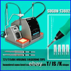 SUGON-T3602 Dual Soldering Iron Soldering Station, with 3 JBC C115 & 3 C210 tips