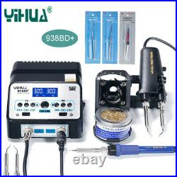 YIHUA 938BD+ 110V Tweezer Soldering SMD Irons Station+3 Heating Core+ Iron Tips
